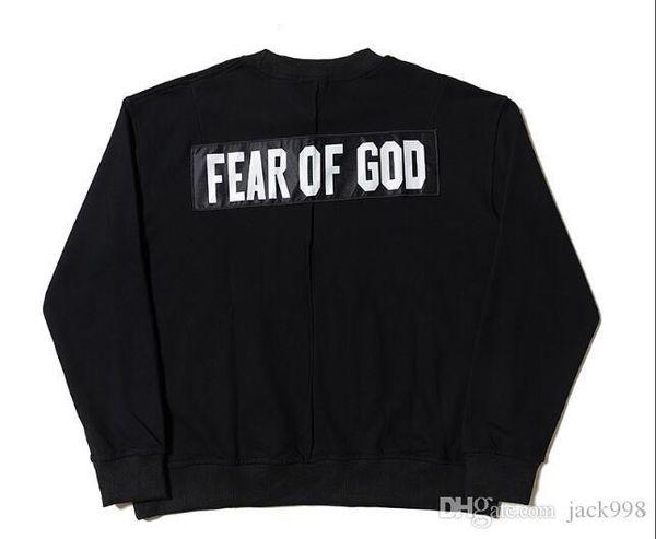 18SS Fear Of God FOG Black Oversized Sweatshirt Solid Color Pullover Hooded Casual Street Skateboard Sport FOG Supply Outwear Hoodies