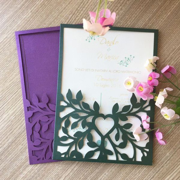 Luxury Mistletoe branch hollow laser cut Pearl paper envelop birthday dinner pocket card party wedding invitaion Free Shipping