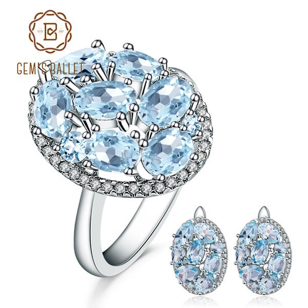 GEM balletto 11.40ct Ovale Natural Blue Sky Topaz monili di gioielli 925 orecchini Ring Set pietra preziosa per le donne CJ191205