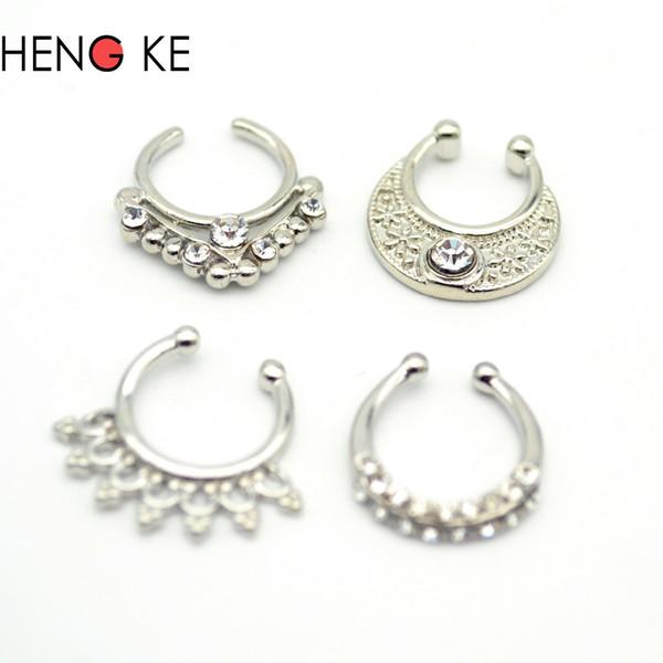 wholesale Women Fake Septum Pierced Jewelry Clicker Crystal Clear Gem Rhinestone Trendy Nose Rings Body Piercing Jewelry Copper