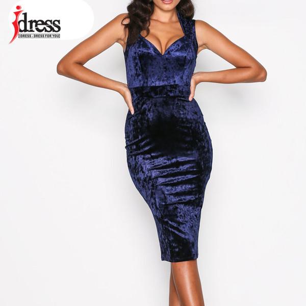 IDress Bodycon Velvet Dress Elegant Vestidos Robe Femme Casual Women Black Dress V Neck Party Night Dress Women Clothes 2019