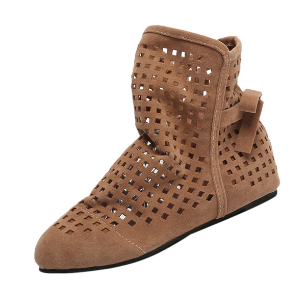 2018 New Women's Summer Boots Flat Low Hidden Wedges Cutout Ankle Boots Ladies Dress Casual Shoes Cute Booties