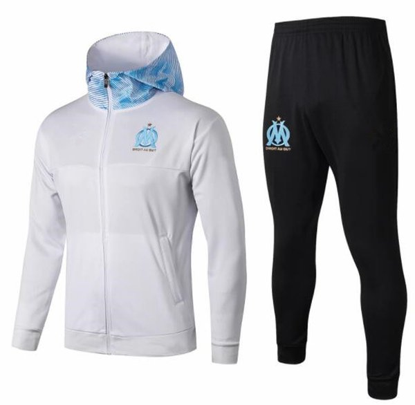 futbol Tracksuit Thauvin 18 19 20 Marsilya Survetement Maillot de Ayak eğitim takım elbise 2019 2020 Olimpik Marsilya kapüşonlu ceket