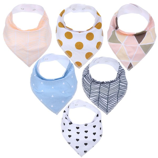6 pcs/lot Baby Bandana Baby Towel Drool Bibs Teething Toys Made with 100% Organic Cotton, Super Absorbent and Soft