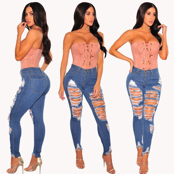 Wholesale Women White jeans High Strength Water washed skinny jeans Ladies fashion New Style Leisure Bottom Jeans 177#