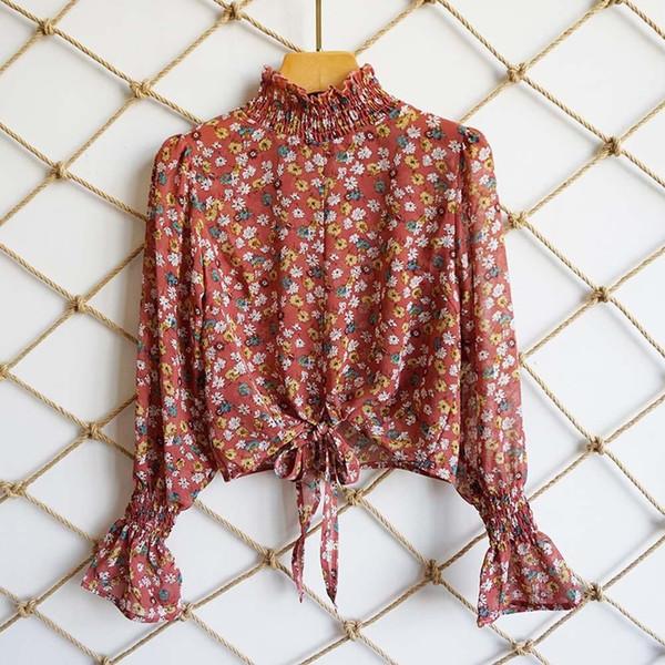 Casual Fashion Flower Print Girls Bow Lace Up Ruffle Crop Top Long Sleeve Women Short Chiffon Blouse Autumn Vintage Sexy Shirts