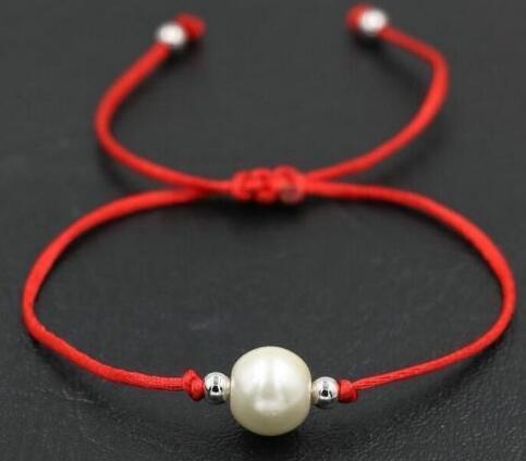 White Pearl Bracelets - Adjustable Black Red color Nylon Rope Charm String Bracelets Lucky Beads Bracelets Bangle Friendship Gift NEW 50pcs