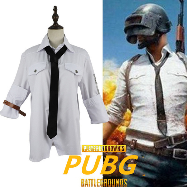 PUBG White Long Sleeve Shirt Tie Cosplay Mens Clothing Uniform PLAYERUNKNOWNS BATTLEGROUNDS Full Set Cos Holiday Gift