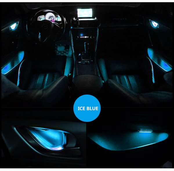 4pcs Atmosphere Lamp Lights Interior Auto Decorative Inner Door Bowl Wrists Armrest Lights Ambient Light Car Door Interior Light