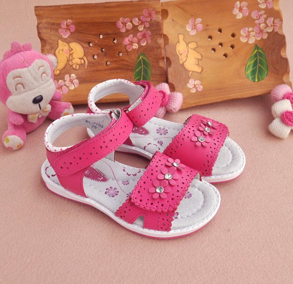 New 1 Pair Flower Genuine Leather Sandals Orthopedic Sandals Children Shoes+inner 13.3-20.6cm , Super Quality Kid Girl Sandals Y19062001