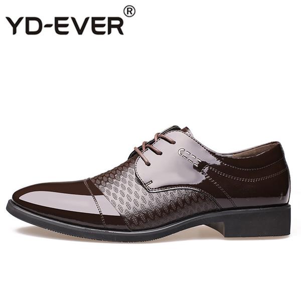 YD-EVER Los hombres visten zapatos de cuero con cordones Moda para hombre  Formales Oxford Zapatos Pisos punta estrecha Casual para hombres 4baa216b962b1