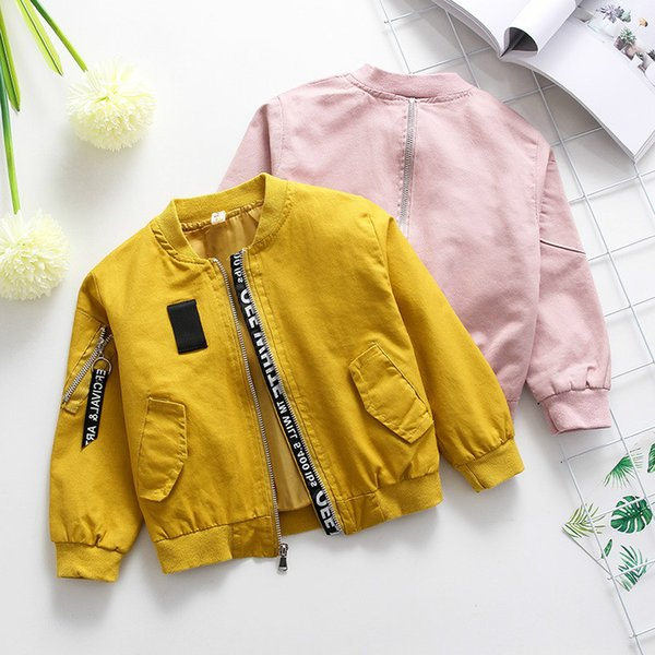 New Autumn And Spring Baby Printing Children Unisex Thin Boy Yellow Pink Coat KidsBaby Jackets For Girls