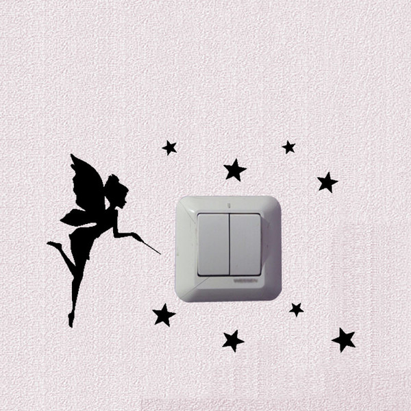 Personality Fairy Fashion Light Switch Sticker Home Room Wall Decal