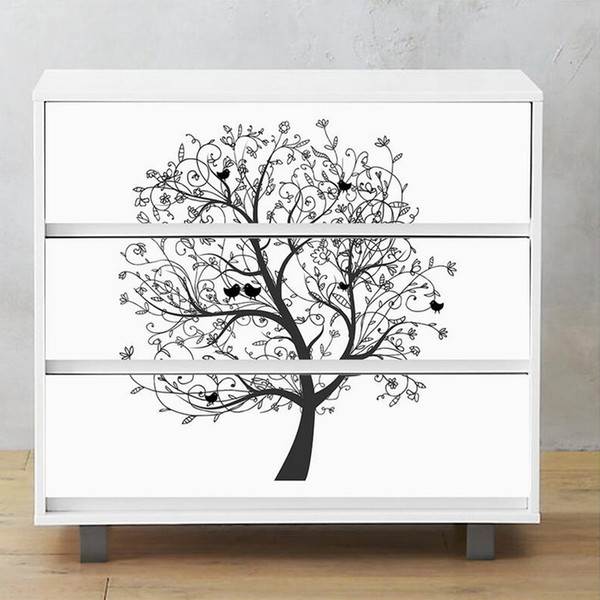 Furniture Decor Cabinet Sticker Art Tree Pattern Black White Wallpaper Waterproof Self Adhesive Wall Sticker Shoe Cabinet Mural