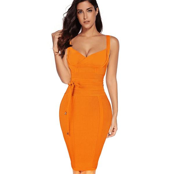 Donne Spaghetti Strap Bandage Dress Dressbandage nuovi arrivi estate giallo Vestito aderente con scollo a V autunno fasciatura del partito del vestito