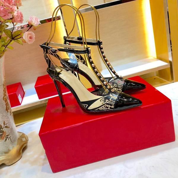 Classic women high heels, Transparent sandals with patterns, Riveted Sharp toe stiletto high-heeled sandals Heel-height 10.5 cm