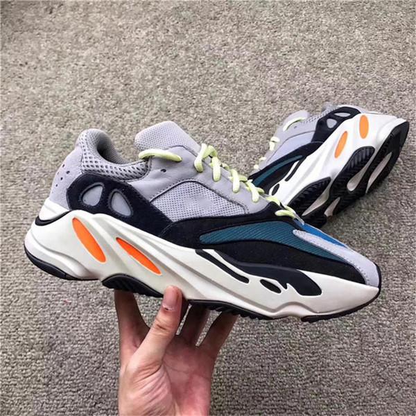 Новый релиз 700 Kanye West Wave Runner Мужчины Женщины открытый обувь 700 V2 статический лиловый тройной Белый EF2829 кроссовки с размером коробки 5-13