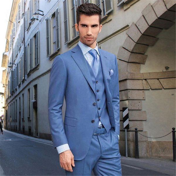 Custom Made Blue Style Dinner Party Prom Men Suit Groomsmen Tuxedos Groom Wedding Suit Men Suits Regular Fit(Jacket+Pants+Vest)