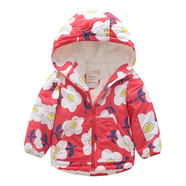 Kids Girl Winter Coats Fashion Children Flower Print Thicken Fleece Hooded Jacket Baby Girls Windproof Waterproof Warm Outerwear