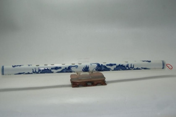 Fine Old China Blue and white Hand-painted Double Dragon Porcelain Flute Wonderful ancient musical instruments