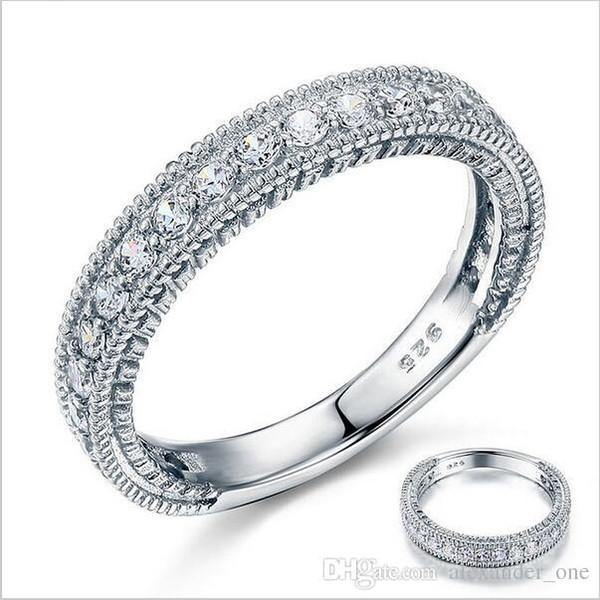 Solide En Argent Sterling 925 Bande De Mariage Éternité Bague Bijoux En Gros Vintage Style Art Déco Simulé Diamant