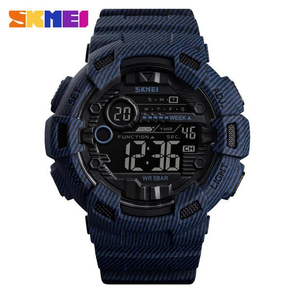 Big Dial LED numérique Montres Hommes bracelet en caoutchouc Homme Armée main Horloge étanche Coût bleu montre-bracelet