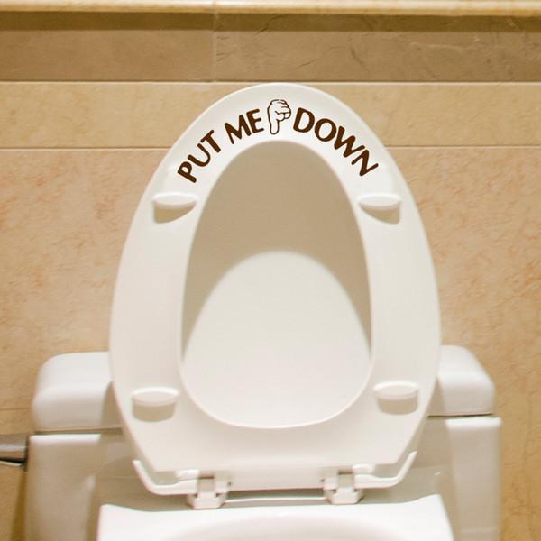 PUT ME DOWN için Jest El Çıkartması Komik Banyo Klozet Kapağı Duvar Sticker İşaret