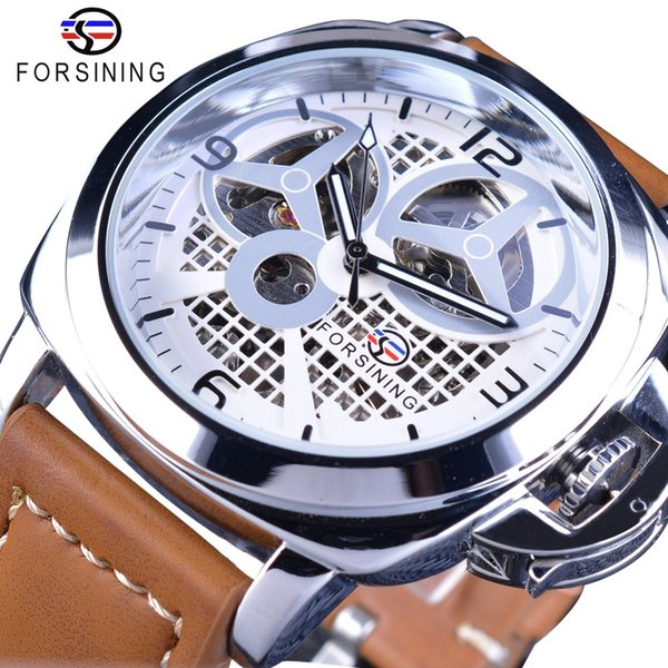 Forsining Windmill Designer Mens Watches Brown Strap Mechanical Watches Brand Luxury Men Military Casual Series Automatic Watch SLZe58