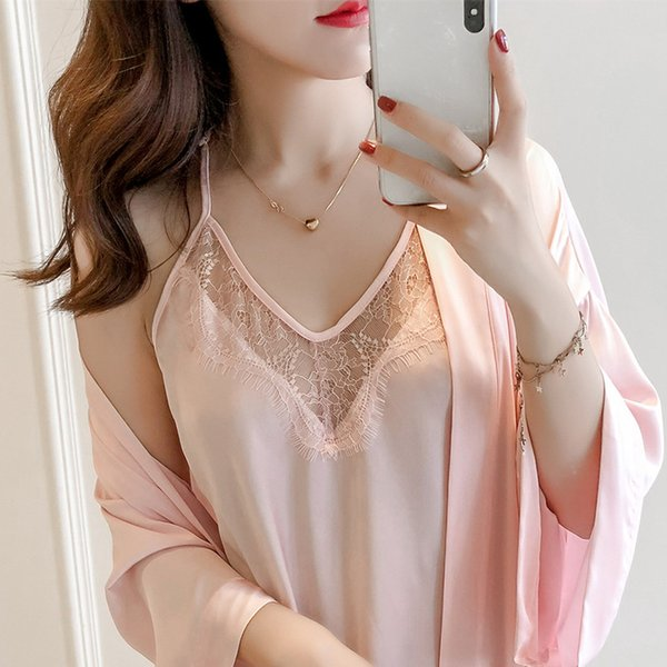 Women Pajamas sets 2 Pieces Satin Sleepwear Pijama Silk Home Wear Home Clothing Embroidery Sleep Lounge Pyjama with Chest Pads