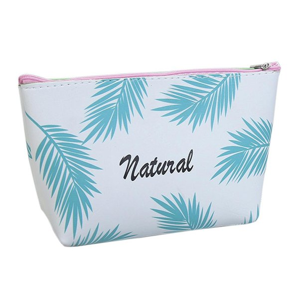 Leaf Printed Leather Women Waterproof Makeup Bag Organizer Storage Case Storage Bag Travel Cosmetic Pouch Toiletry Travel