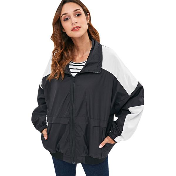 Zip Jacket Mulheres Casual Cor Bloco Bolsos Frente Turn Down Collar Manga Comprida Jaqueta Feminina Outono Bomber Jaqueta Casaco
