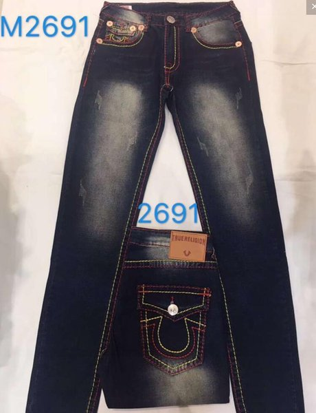 top popular Bleached Blue Straight Jeans Hommes TRUE Denim Pants RELIGION Pocket Deisgn Fashion Brand Jeans Mens Fit Hip Hop Jeans 2019