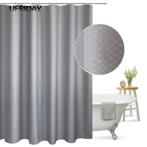 UFRIDAY Shower Curtain Waffle Weave Pattern Durable Charcoal Fabric Bathroom Curtain Waterproof Mildew Resistant Bath