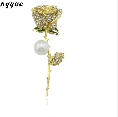 Handmade Diy Finding Elegant Zirconia Rhinestone Coat Brooch Pins Pearl Flower Components Women Wedding Party Jewelry