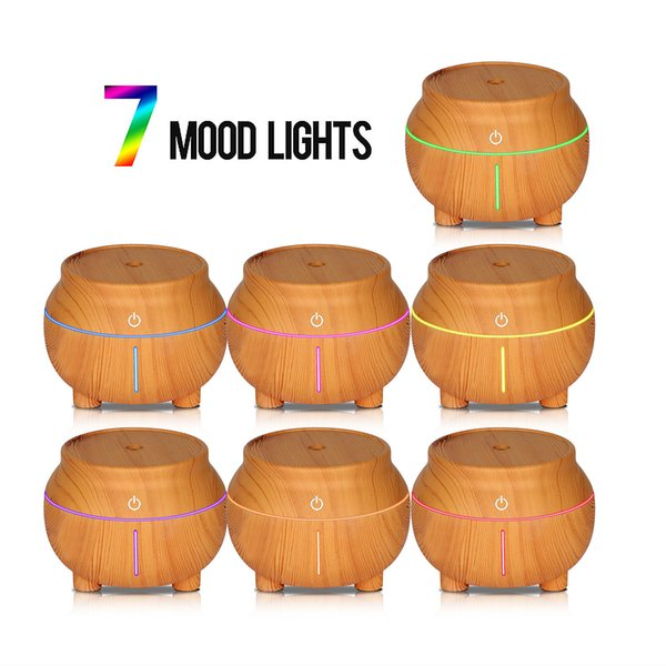 top popular USB Wood Grain Humidifier 7 Color LED Night Light Touch Sensitive Aroma Essential Oil Diffuser Purifier Mist Maker Car Air Fresher GGA2597 2020