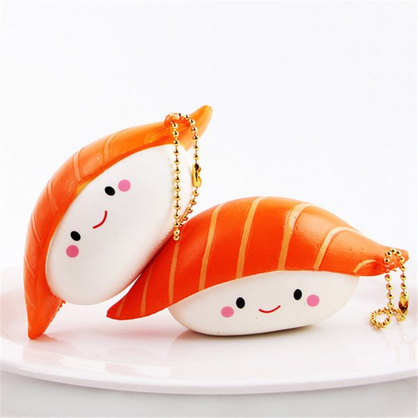 Squishy Saumon Sushi Japon Squishies Alimentaire Ralentissant Kawaii Bracelet Imitation Japonaise DHL Livraison Gratuite SQU046