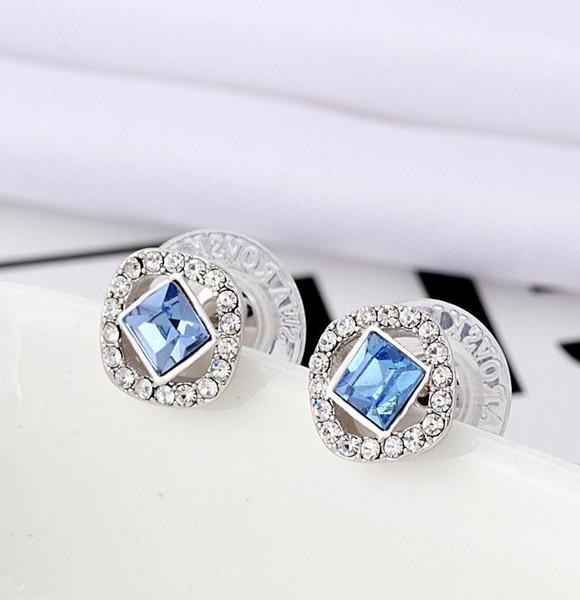 2019 [todo nuevo] lujoso cuadrado azul cristalino plateado plateado conjunto con elementos de cristal austriaco pendientes de alta edición stud señora moda