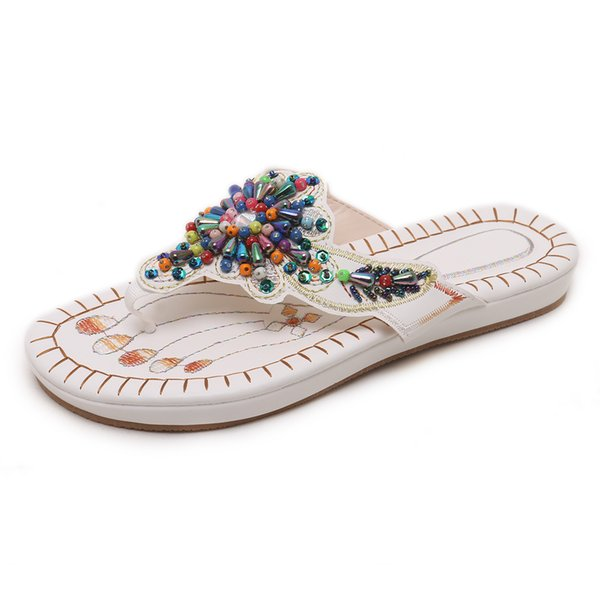 Summer Flat Flip Flops for Women Fashion Beaded Ethnic Style Flat Slippers Lady Soft Bohemia Thongs Flip Flop