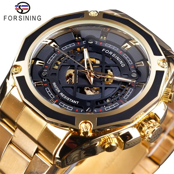 Forsining 3D Transparent Design Luxury Gold Mens Watch Automatic Skeleton Stainless Steel Top Brand Mechanical Wrist Watches For Man Male