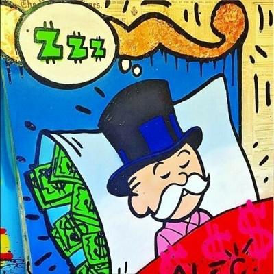 High Quality Alec Monopoly Handpainted & HD Print Abstract Graffiti Art Oil Painting Sleeping Idea On Canvas Wall Art Home Decor