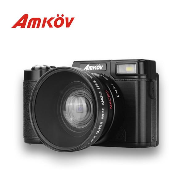 AMKOV CD-R2 Digitalkamera-Camcorder mit 3-Zoll-TFT-Bildschirm mit UV-Filter Anti-Shake Super Weitwinkelobjektiv / Makroobjektiv