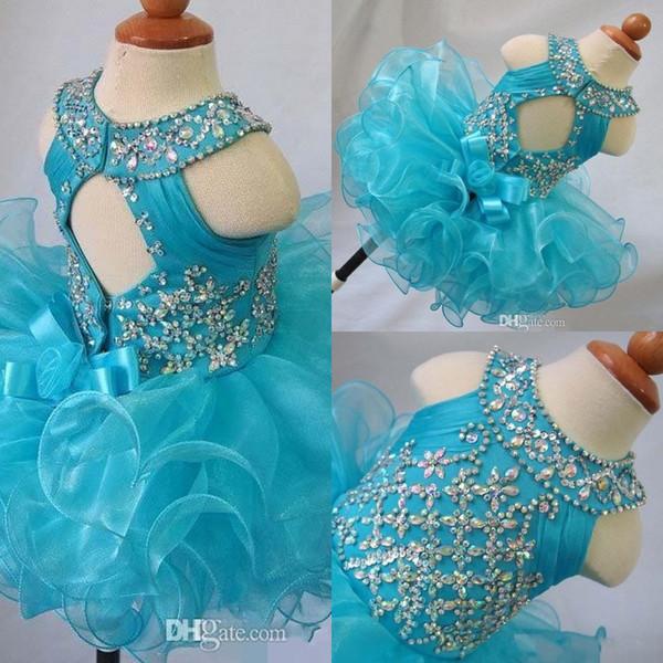 blu gioiello collo cristallo fiore ragazza backless senza maniche arco organza perline cupcake pageant abiti bambini bambino glitz prom abiti da ballo infantili