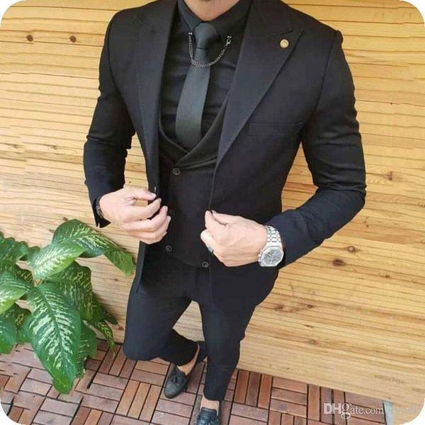 Black Men Suits for Wedding Man Suits Groom Tuxedos Wide Peaked Lapel 3Piece Slim Fit Groomsmen Blazers Custom Costume Homme Evening Party