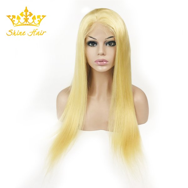 Shine Hair Blonde Straight Full Lace Wig Long Brazilian Human Remy #613 Lace Wigs For Women 8-30 Inches With Wig Cap