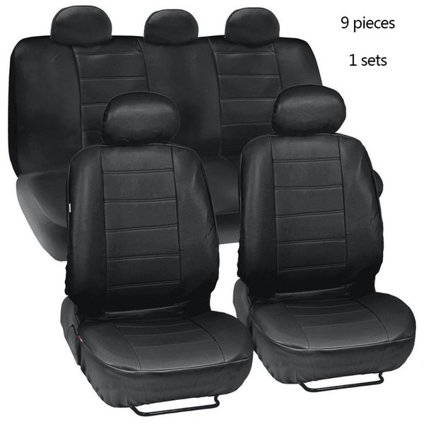 4pcs/9pcs Black Leatherette Car Seat Covers Front Rear Full Set Side Airbag & Armrest Compatible Synthetic Leather Auto
