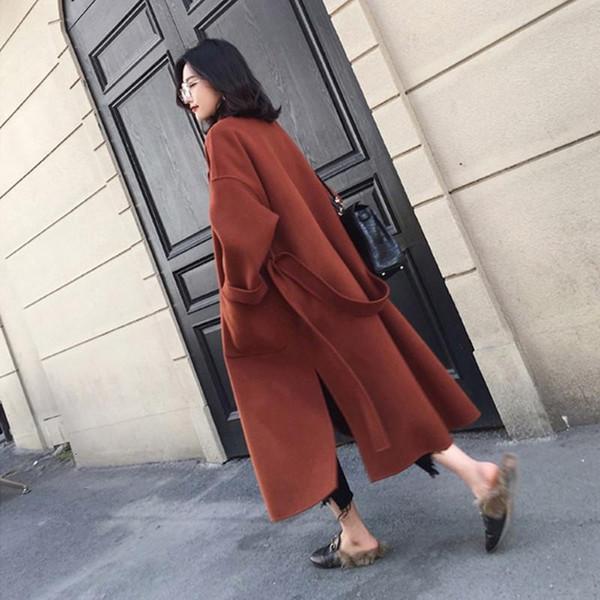 Outono e Inverno de lã casaco de lã 2019 Hot Sale Casual Brasão Nova V-Neck inverno Brasão Mulheres Belt bordo Red Temperamento