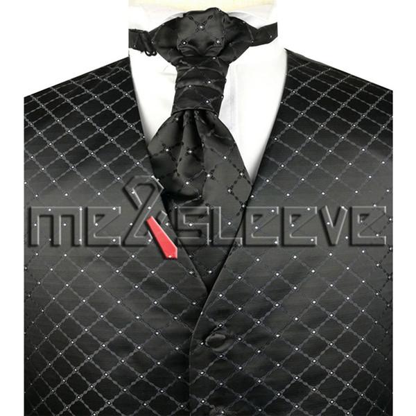 Conjunto de colete costurado sob medida de design de acessórios de moda preto