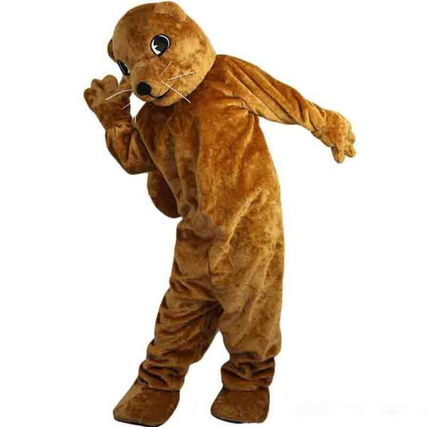 Nova alta qualidade Brown Groundhog Gophers trajes da mascote para adultos de natal de circo Halloween Outfit Fancy Dress Suit frete grátis