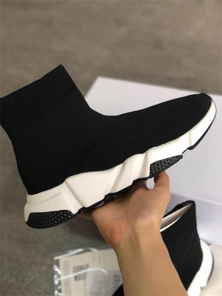 2019 hombres de las mujeres del diseñador de moda las zapatillas de deporte Calcetines Calzado entrenador de velocidad Negro Blanco Azul hombre purpurina rosa entrenadores Runner zapato casual