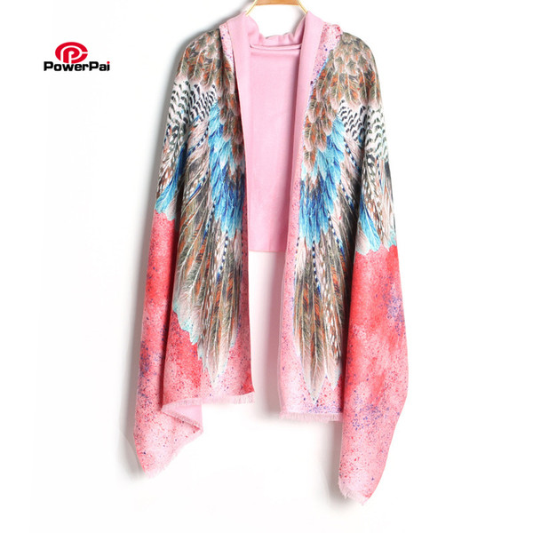 Novelty Fashion Digital Printing Eagle Cashmere Scarf Long Women Feather Shawl Muffler Pashmina Wraps 190cm
